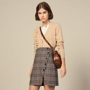SALE Sandro Paris Wool Plaid Mini Skirt